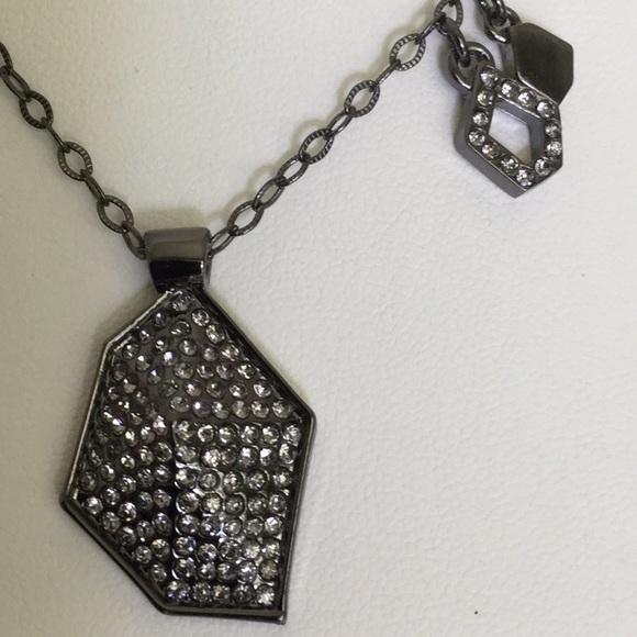 "Lia Sophia Jewelry - Vtg.Lia Sophia 18""W/3""Ext.GunmetalNeck laceW/Pendt"